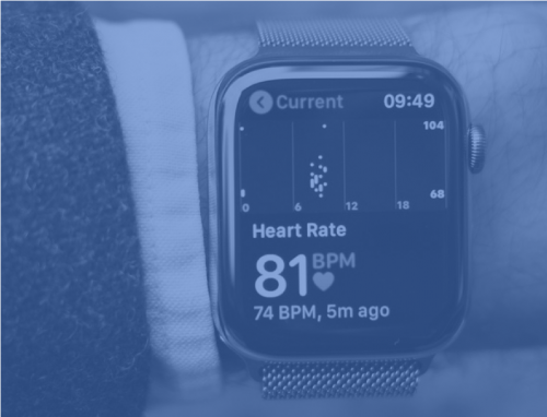 Picture of apple Watch showing health metrics